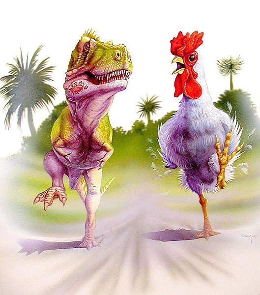 тиранозавр и курица рисунок